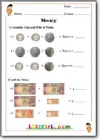 indian currency math worksheet teach money for class 1