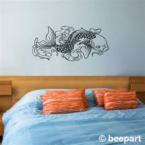 japanese koi wall decal asian style decoration koi fish vinyl wall decal sticker art japanese by beepart