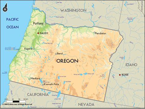 oregon map usa geographical map of oregon and oregon geographical maps