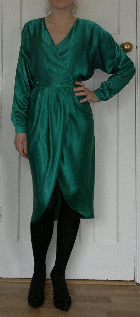 Satin Wrap Top Emerald emerald green wrap satin blouse mexican blouse