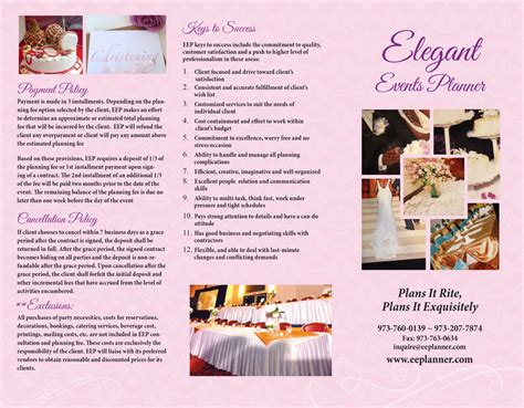 Wedding Company Brochure by Event Planner Brochure Narcisos Printing Inc