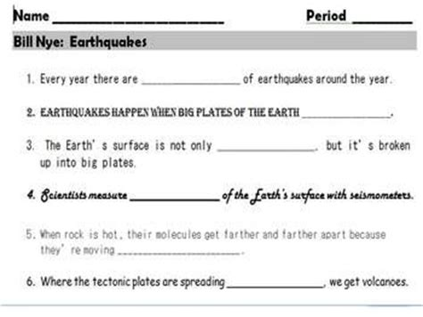 earthquake questions bill o brien worksheets and lava on pinterest