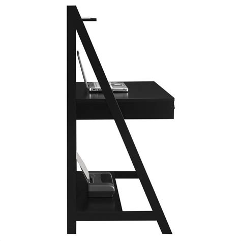 Bush Myspace Alamosa Wood Ladder Desk In Black My72701 03 Ladder Office Desk