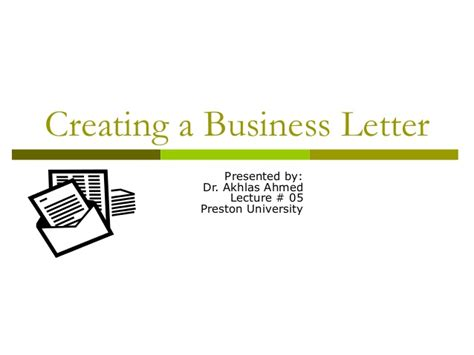 Business Letter Writing Slideshare Lecture 05 Writing A Business Letter