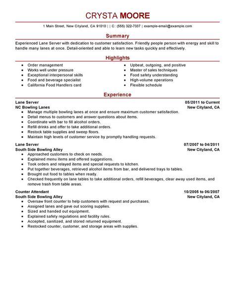 Lane Server Resume Examples   Media & Entertainment Resume