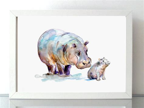 painting for barbies hippo and baby hippo watercolor painting giclee