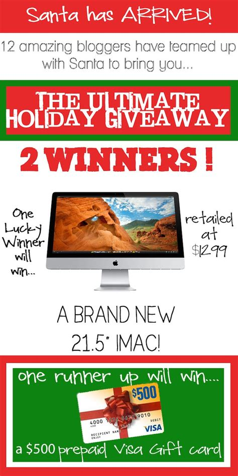 500 Dollar Visa Gift Card - ultimate holiday giveaway win an apple imac or 500 prepaid visa gift card
