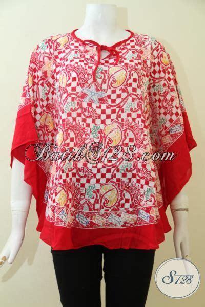 desain baju wanita keren blus batik merah desain kelelawar baju batik lengan
