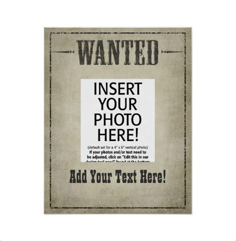 19 Western Wanted Poster Templates Free Printable Wanted Poster Template