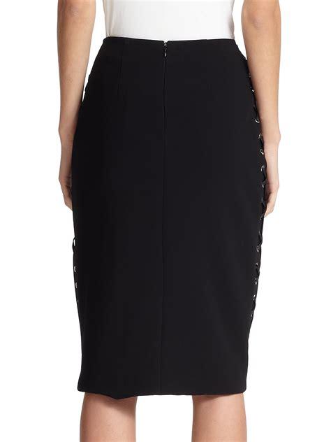 altuzarra lace up pencil skirt in black lyst