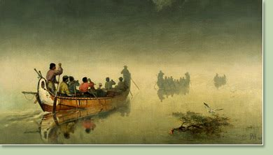 canoes in a fog lake superior glenbow gt collections research gt art gt up to 1914