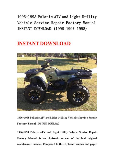 1996 1998 Polaris Atv And Light Utility Vehicle Service