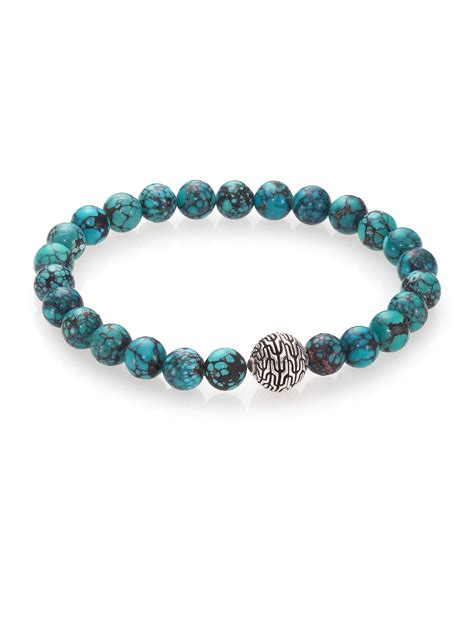 silver bead bracelet hardy batu classic chain turquoise sterling silver