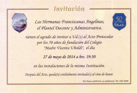 modelos de tarjetas de invitacion para el acto del 9 de julio invitaci 211 n acto protocolar por los 50 a 241 os de fundaci 243 n