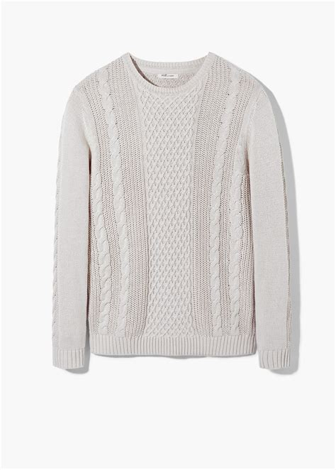 cotton cable knit sweater mango cable knit cotton sweater in white for lyst