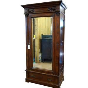 Picture Frame Jewelry Armoire Walnut Eastlake Victorian Wardrobe Single Beveled Mirror