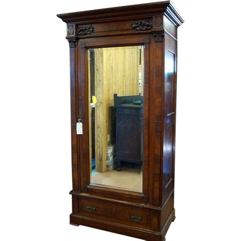 Single Mirror Closet Door by Walnut Eastlake Wardrobe Single Beveled Mirror