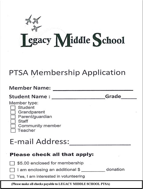 2015 2016 pta membership card template ptsa legacy ms