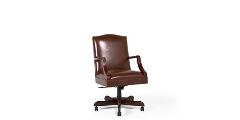 arenson office furniture walnut brown leather mid back office chair chr013484 arenson office furnishings