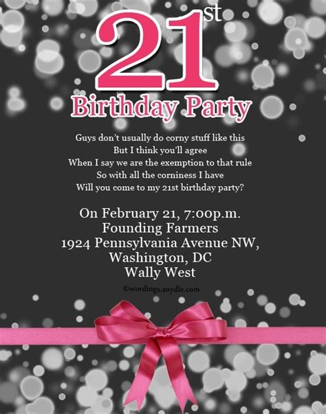 Invitation Letter For 21st Birthday Letters Free Sle Letters 21st Birthday Invitation Card Template