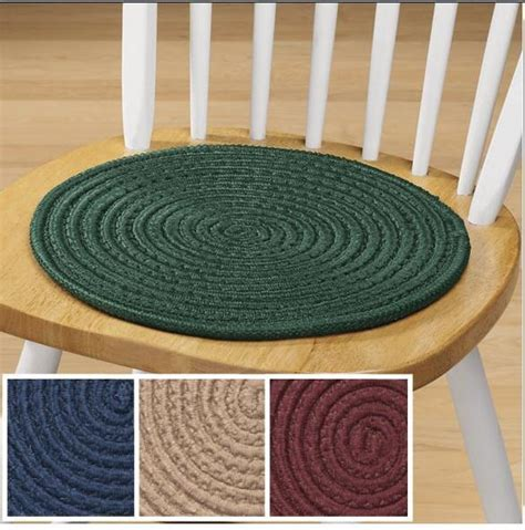 Braided Chair Pads solid colored braided chair pads set of 2 classic look for kitchen chairs ebay