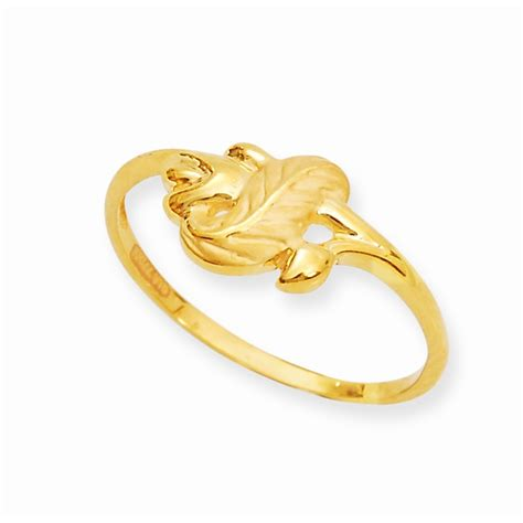 rings well crafted leaf design gold ring grt