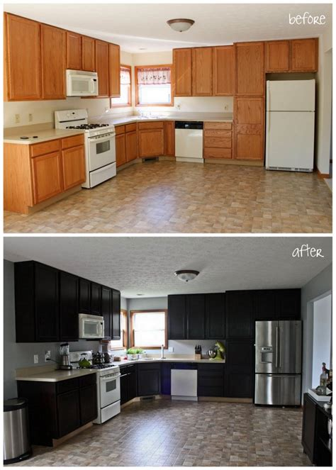 Stained Kitchen Cabinets Before And After Gel Stain Kitchen Cabinets Before After