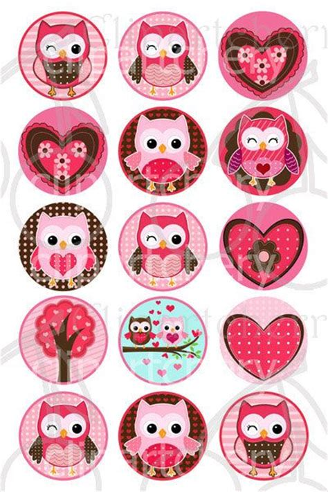 owl valentines owls 1 inch digital circles design 4x6 15