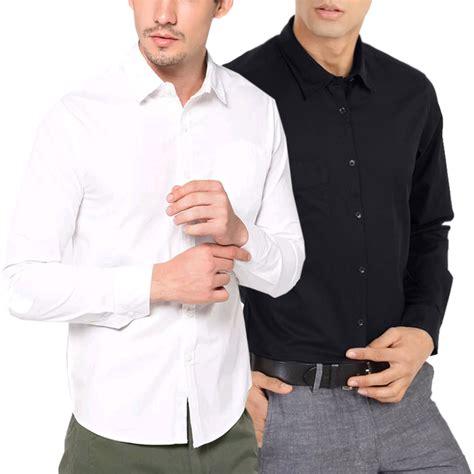 Kemeja Pria Formal Kantor Lengan Panjang Putih Polos Original By Ali kemeja lengan panjang kantor pria kemeja kerja kemeja formal polos biru putih hitam