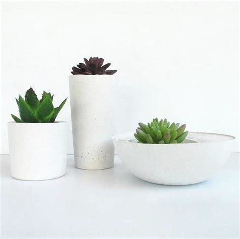 White Planters Pots by White Concrete Planter Trio