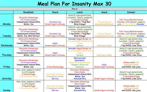 Free Meal Plan Calendar Printable insanity max 30 meal plan focused on fitness