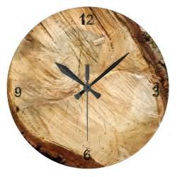 Wood Clock Natural Wood Grain Wall Clocks Zazzle