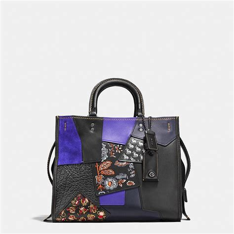 Patchwork Coach Bag - coach black copper purple multi embellished patchwork