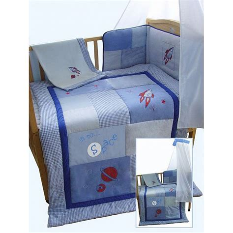 Snuggle Bed Blue Boys Rocket Space Themed Patchwork 5 Blue Cot Bedding Sets