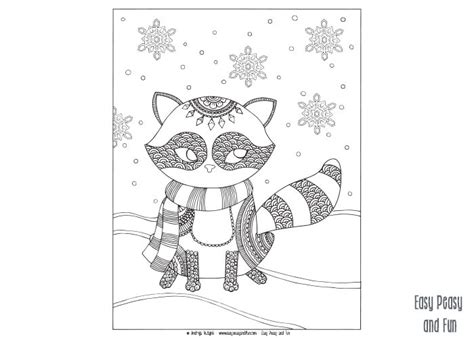 winter coloring pages for adults raccoon winter coloring page for adults and easy