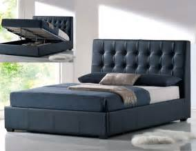 stylish leather luxury platform bed with extra storage