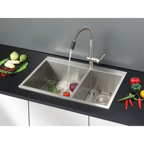 drop in stainless steel kitchen sinks ruvati tirana 33 quot x 22 quot drop in double bowl kitchen