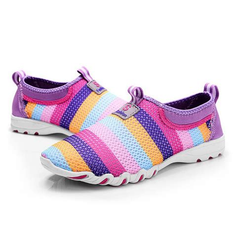 Gogftitik1007 Sepatu Kasual Slip On Wanita A musim panas sepatu wanita udara jala tumit datar slip on sepatu kasual pink abu abu ungu