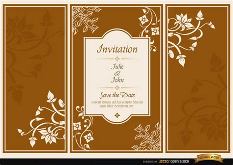 Wedding Floral Brochure by Floral Triptych Brochure Wedding Invitation Vector