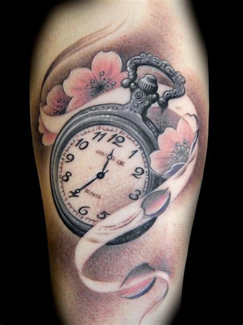 tattoo flower clock flowers and clock tattoo tattoomagz