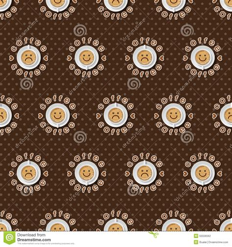 dot expression pattern face expression of cappuccino cup background stock vector