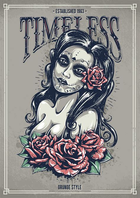 design poster illustrator tutorials create a tattoo style grunge day of dead girl poster in