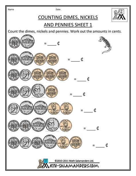 Money Worksheets For Grade by Counting Money Worksheets Dimes Nickels And Pennies 1