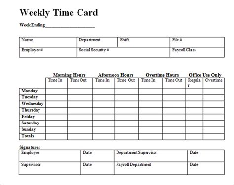 time card template excel best photos of free employee time card template weekly