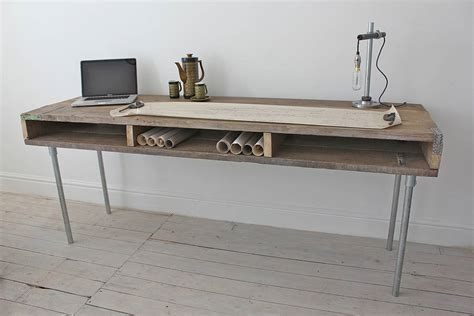 ellie reclaimed wood desk with steel legs by grain