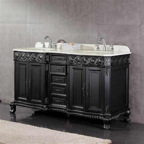 bathroom vanity black marble top shop ove decors trent antique black undermount double sink