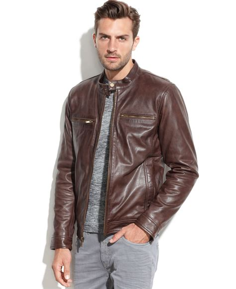 Jaket Hondie Guees lyst guess leather moto jacket in brown for