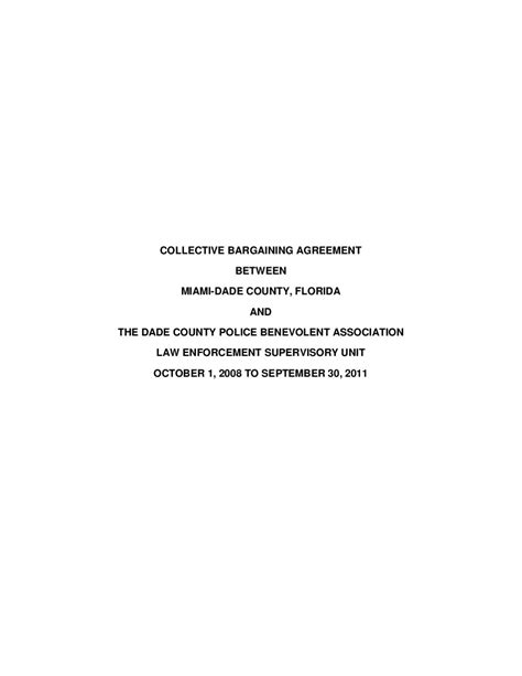 Miami Dade County Records Civil Miami Dade County Union Contract Supervisory By