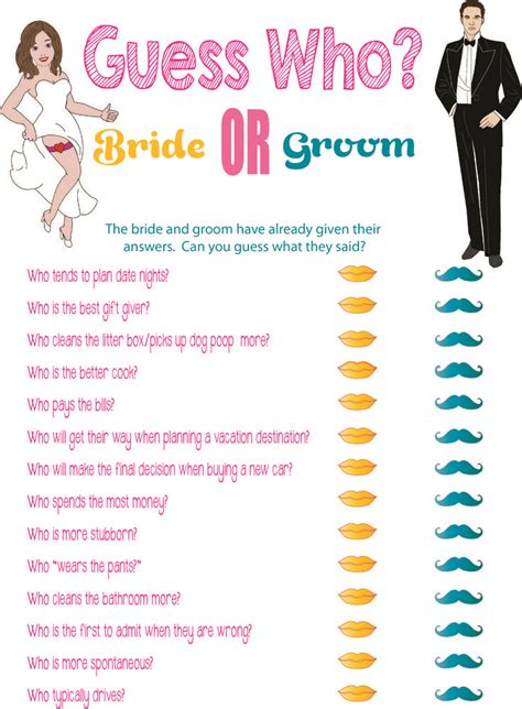 printable bridal shower questions 5 best images of printable wedding games bridal shower