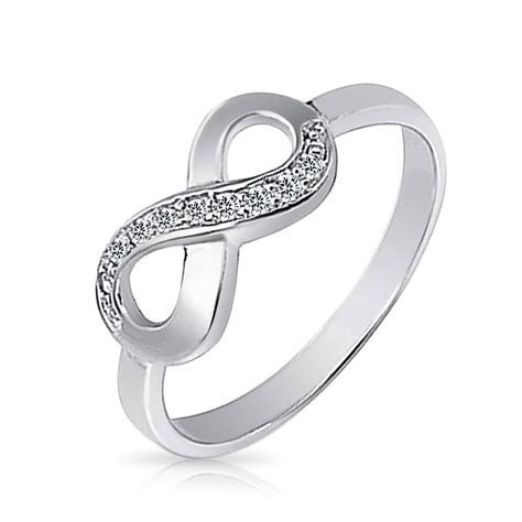Half Pave CZ Infinity Promise Ring 925 Sterling Silver